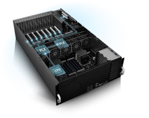 "ASUS 4RU Barebones Server, ESC8000 G4, 8 x GPU Compatible, Dual Xeon Socket, 24 x DIMM,  6 x 2.5"""