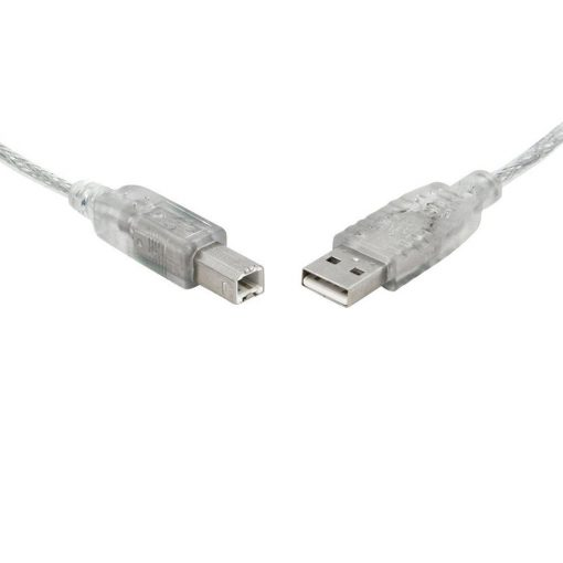 UC-2000AB-8Ware USB 2.0 Cable 0.5m (50cm) A to B Transparent Metal Sheath UL Approved
