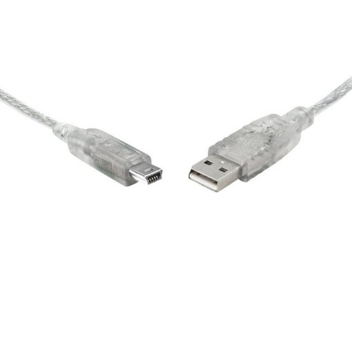 UC-2001ABN-8Ware USB 2.0 Cable 1m A to Mini-USB B Male to Male Transparent