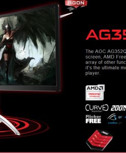 "AG352QCX/75-AOC AGON 35"" VA IPS-Type 4ms 200Hz 2560x1080 FreeSync Curved Gaming Monitor w/HAS - HDMI2.0/DP/DVI/VGA Speaker VESA100mm Height Adjust USB3.0 Charger"