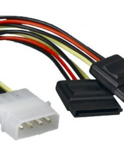 AT-MOLEX-TO-SATAX2-Astrotek Internal Power to SATA Molex Cable - 4 pins to 2x 15 pins 18AWG RoHS