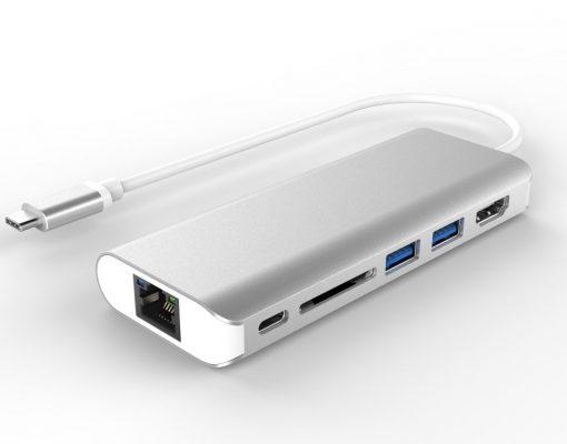 AT-UTYPEC-DOCK-Astrotek All-in-One Dock Thunderbolt USB-C 3.1 Type-C to HDMI+USB3.0+Card Reader+RJ45 Gigabit LAN+TypeC PD Function for Macbook Pro