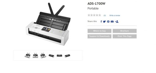 ADS-1700W-Brother ADS-1700W *NEW* COMPACT DOCUMENT SCANNER with Touchscreen LCD display  WiFi (25ppm) One Year Warranty