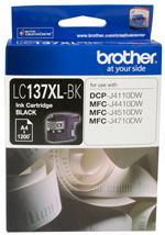 LC-137XLBK-Brother LC-137XLBK  Black Ink Cartridge- DCP-J4110DW/MFC-J4410DW/J4510DW/J4710DW - up to 1200 pages