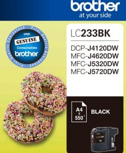 LC-233BK-Brother LC-233BK Black Ink 550 Page/For J4120/4620/5720DW (LS)