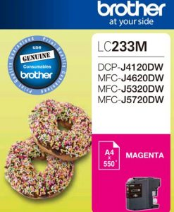 LC-233M-Brother LC233MS Megenta Ink Cartridge - DCP-J4120DW/MFC-J4620DW/J5320DW/J5720DW - up to 550 pages