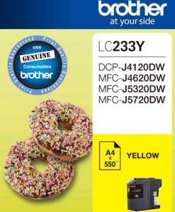 LC233Y-Brother LC233YS Yellow Ink Cartridge - DCP-J4120DW/MFC-J4620DW/J5320DW/J5720DW