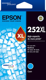 C13T253292-Epson 252XL Cyan Ink Cartridge Suits WF3620/3640/7610/7620
