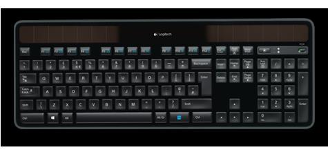 920-004631-Logitech K750R 2.4GHz Wireless Solar Keyboard 1/3-inch thick