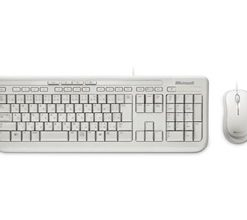 APB-00022-Microsoft Wired Desktop 600 White USB White Mouse  Keyboard Retail Pack
