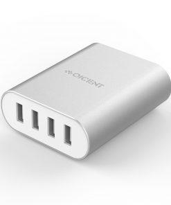 RSK-4U-SV-Orico Aluminum 4 x USB Port - 2.4A - Desktop Charger - Silver