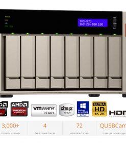 TVS-873E-8G-QNAP TVS-873E-8G 8-Bay NAS AMD RX-421BD Quad-Core 2.1-3.4GHz 8GB DDR4 2xM.2 2xPCIe 4xUSB3.0 2xHDMI 4K Hot-swappable 4xGigabit LAN ~BABQ-TVS-873-8G