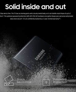 MU-PA1T0B/WW-Samsung T5 1TB Portable External SSD 540MB/s USB3.1 Gen2 Type-C 10Gbps V-NAND Shock Resistant Password Protection Win Mac 3yrs wty