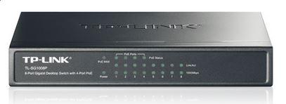 TL-SG1008P-TP-Link TL-SG1008P 8-Port Gigabit Desktop Unmanaged Switch with 4-Port PoE 55W Fanless IEEE 802.3af Support MAC address 802.1p/DSCP QoS