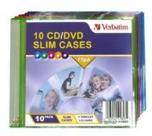41853-Verbatim Slim CD/DVD Case 10pk Coloured Slim Cases