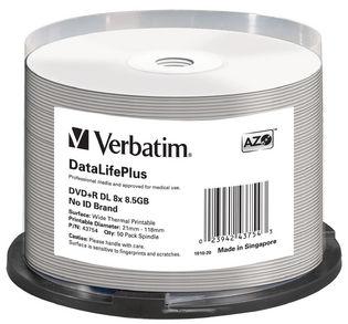 43754-Verbatim DVD+RDL 8.5GB 50PK Wide Thermal Print 8X