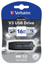 49172-Verbatim 16GB V3 USB3.0 Grey Store'n'Go V3; Rectractable