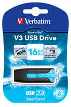 49176-Verbatim 16GB V3 USB3.0 Blue Store'n'Go V3; Rectractable