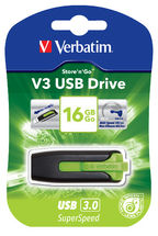 49177-Verbatim 16GB V3 USB3.0 Green Store'n'Go V3; Rectractable