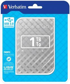 """53197-Verbatim 1TB 2.5"""" USB 3.0 Silver. Store'n'Go HDD Grid Design"""