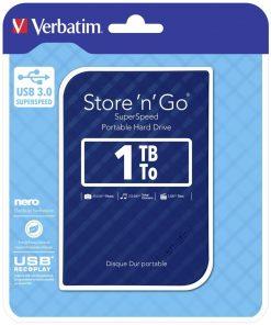 """53200-Verbatim 1TB 2.5"""" USB 3.0 Blue Store'n'Go HDD Grid Design"""