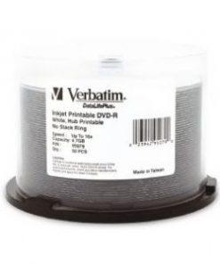 95079-Verbatim DVD-R 4.7GB 50Pk White Wide Inkjet 16x