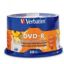 95137-Verbatim DVD-R 4.7GB 50Pk White InkJet 16x