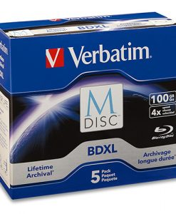 98913-Verbatim M DISC BDXL 100GB 4X with Branded Surface – 5pk Jewel Case Box
