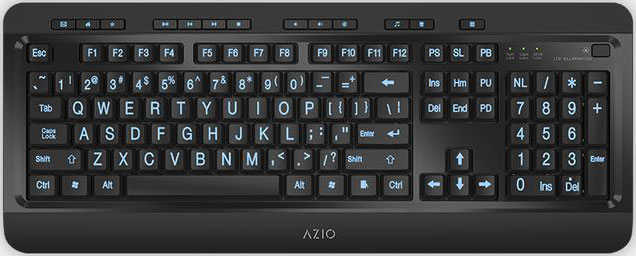 KB505U-AZIO KB505U Large Print Tri-Color Illuminating Ergonomic Wired USB Keyboard