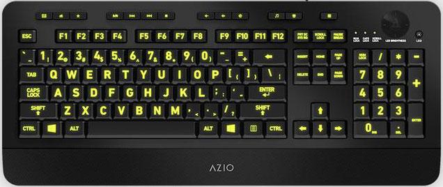 KB506-AZIO KB506 Large Print Five-Color Illuminating Ergonomic Wired USB Keyboard