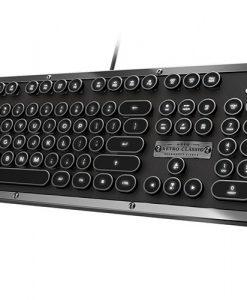 MK-RETRO-L-01-US-AZIO RETRO CLASSIC Vintage Typewriter USB Backlit Mechanical Keyboard - Alloy Leather Trim ONYX (LS)