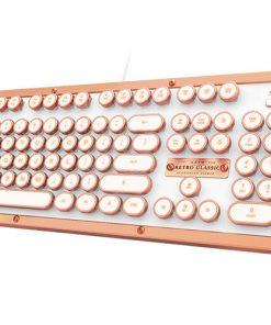 MK-RETRO-L-02-US-AZIO RETRO CLASSIC Vintage Typewriter USB Backlit Mechanical Keyboard - Alloy Leather Trim POSH - Premium Leather/NKRO/USB/Blue Switch (LS)
