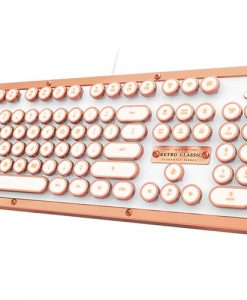 MK-RETRO-L-02-US-AZIO RETRO CLASSIC Vintage Typewriter USB Backlit Mechanical Keyboard - Alloy Leather Trim POSH (LS)