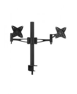 LCD-T9-Brateck  Dual Monitor Mount w/Arm & Desk Clamp Black VESA 75/100mm Up to 27''