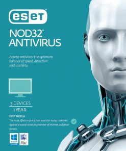 AV-ES-NODR3D1Y-ESET NOD32 Antivirus 3 Devices 1 Year Retail Physical Printed Download Card