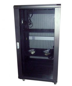 NCB22-66-BDA-LinkBasic 22U 600mm Depth Server Rack Glass Door with 2x240v Fans and 8-Port 10A PDU