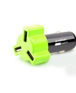 CHGR-348-GRE-mbeat® 4.8A 24W Triple-port Rapid Green Car Charger
