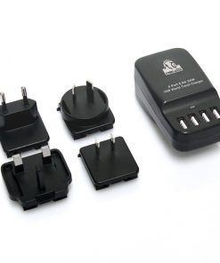 CHGR-4U-BLK-mbeat® Gorilla Power 4-Port 6.8A 34W USB World Travel Charger - Interchangable World Travel Adapters (AUS/US/UK/EU)