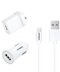 MB-UCK-A31W-mbeat 3-in-1 MFI USB Lightning Charging Kit (1m Lighting to USB Cable + 2.1A Car & Wall Charger)