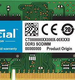 CT102464BF160B-Crucial 8GB (1x8GB) DDR3 SODIMM 1600MHz 1.35V Dual Ranked Single Stick Notebook Laptop Memory RAM