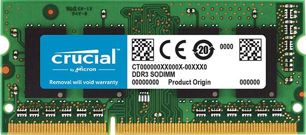 CT51264BF160B-Crucial 4GB (1x4GB) DDR3 SODIMM 1600MHz 1.35/1.5V Dual Voltage Single Stick Notebook Laptop Memory RAM ~MENB4GBDDR3-16L KVR16LS11/4