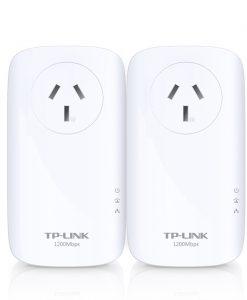TL-PA8010P KIT-TP-Link TL-PA8010PKIT AV1200 Gigabit Passthrough Powerline Starter Kit 1200Mbps HomePlug AV2 1x1Gbps LAN Power Socket Line-Neutral/Line-Ground 2×2MIMO