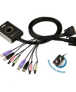CS682-AT-Aten Petite 2 Port USB DVI KVM Switch with Audio and Remote Port Selector - 1.2m Cables Built In