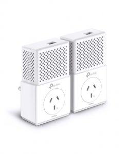 TL-PA7010P KIT-TP-Link TL-PA7010P-KIT AV1000 1000Mbps Gigabit Passthrough Powerline Starter Kit HomePlug AV2 1x1Gbps LAN 300m Pair Button Plug & Play