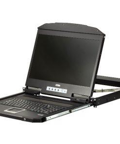 "CL3700NW-ATA-AU-Aten 1U 18.5"" Ultra Short Depth Single Rail WideScreen Rackmount LCD Console (USB / HDMI)"