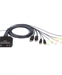 CS22DP-AT-Aten 2 Port USB 2.0 DisplayPort Cable KVM Switch with Audio. Support 2560x1600@60Hz
