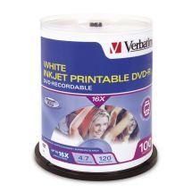 95153-Verbatim DVD-R 4.7GB 100Pk White InkJet 16x