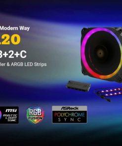 Prizm 120 ARGB 3+2+C-Antec Prizm 120mm ARGB Fan 3+2+C 3x RGB Dual Ring PWM FAN
