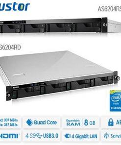 AS6204RS-Asustor AS6204RS 4 Bay 1U Rack single power NAS Intel Celeron Quad Core 1.6GHz 4GB DDR3L 4xGbE 3xUSB3.0 WoL Hardware encryption Virtualization