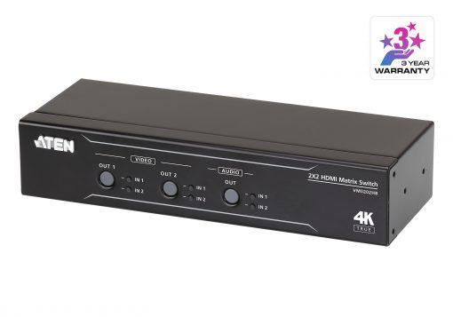 VM0202HB-AT-U-Aten VM0202HB 2x2 True 4K HDMI Matrix Switch with audio de-embedder